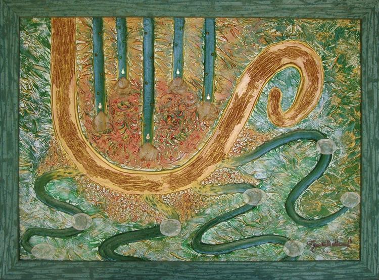 quadro opera pittorica la culla della ricchezza spirituale Alessia Pignatelli