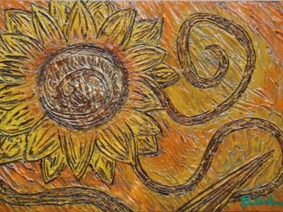 quadro opera pittorica l'energia del girasole Alessia Pignatelli